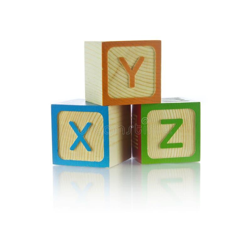 Blocos do alfabeto - XYZ fotos de stock royalty free