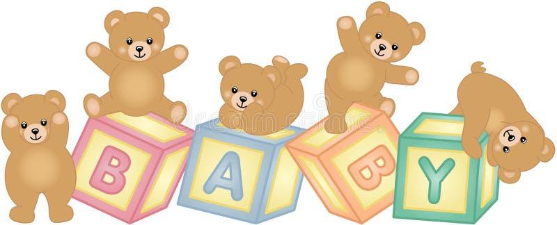 Blocos do bebê com urso de peluche ilustração royalty free