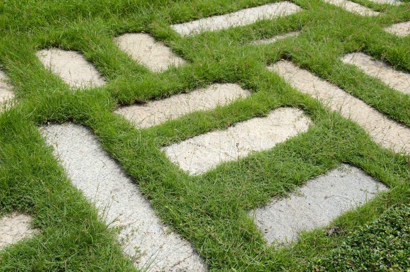 Blocos do cimento na grama verde fotos de stock royalty free
