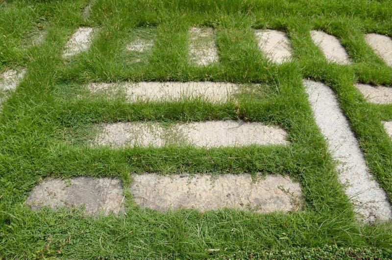 Blocos do cimento na grama verde fotografia de stock royalty free