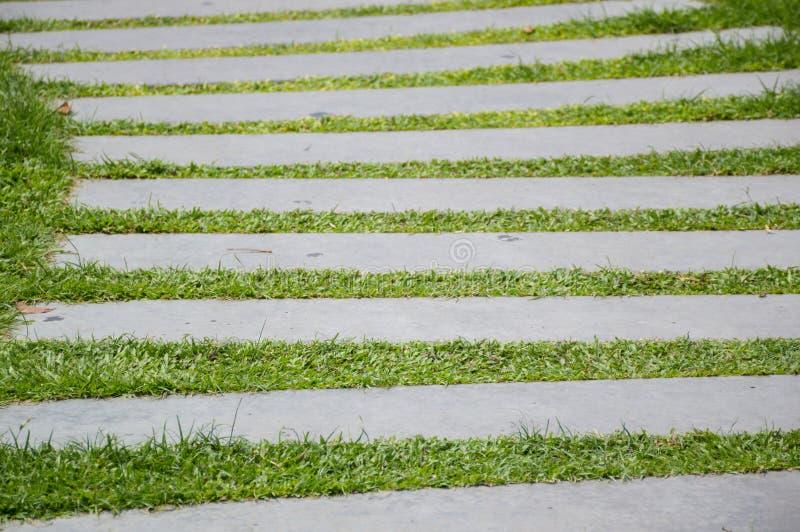 Blocos do cimento na grama verde foto de stock royalty free