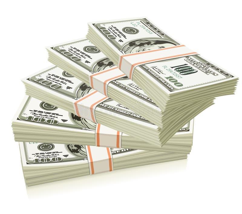 Blocos do dinheiro dos dólares isolados ilustração do vetor