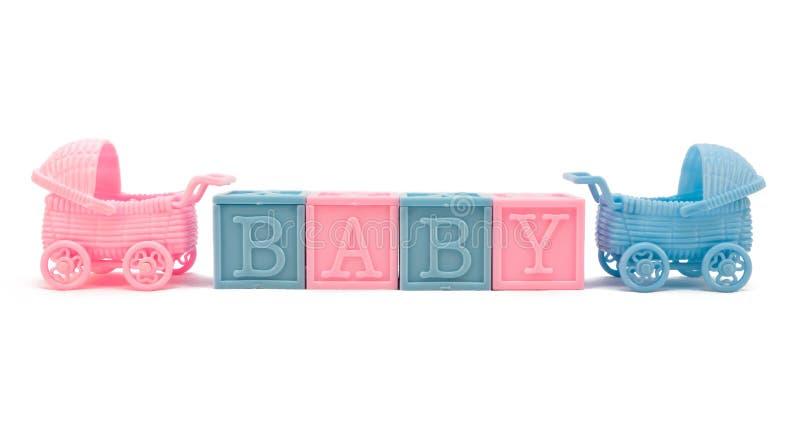 Blocos e carrinhos de criança do bebê fotografia de stock royalty free