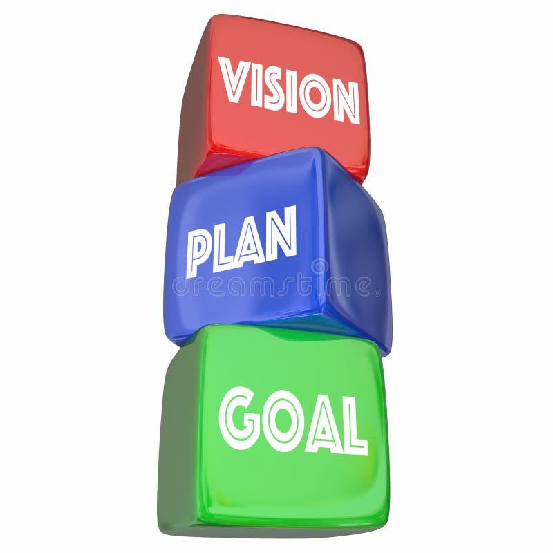 Blocos objetivos das etapas da estratégia do objetivo do plano da visão ilustração stock
