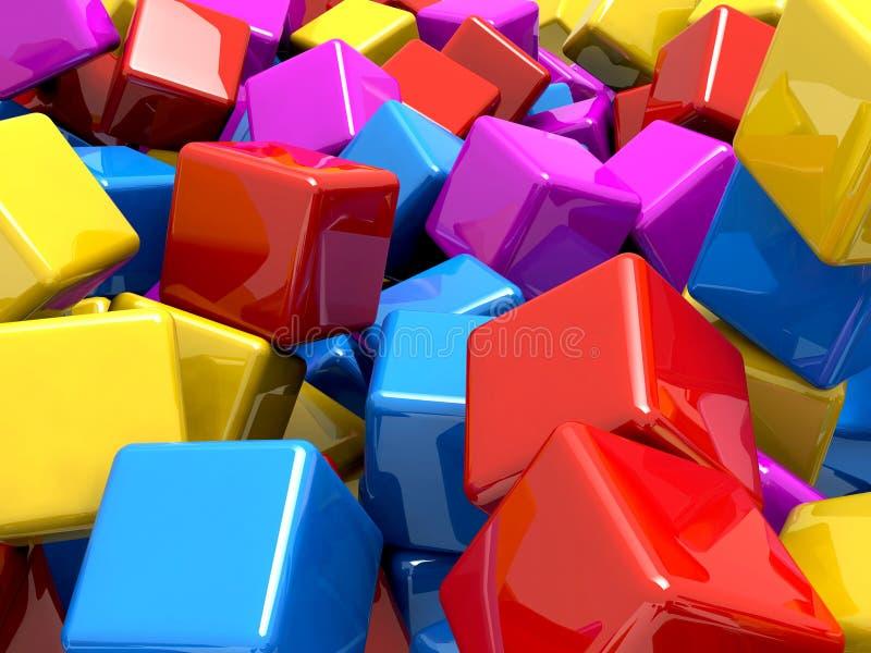 Blocos reflexivos lustrosos coloridos ilustração stock