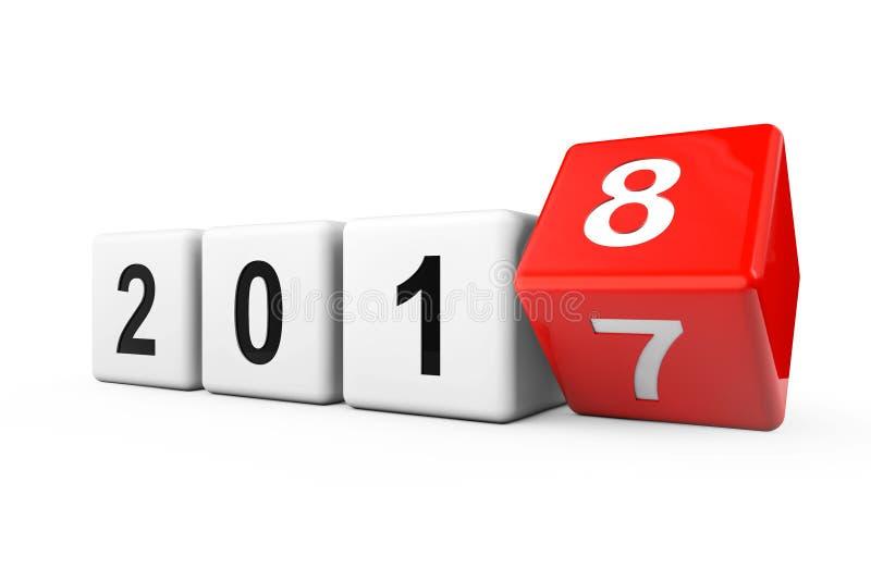 Blocs avec la transition de l'année 2017 à 2018 rendu 3d illustration de vecteur
