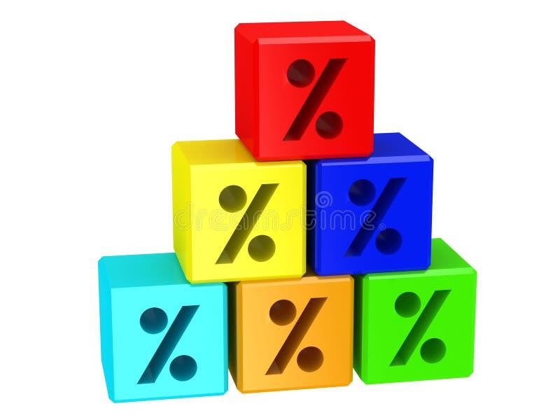 Blocs avec le signe des pour cent illustration stock