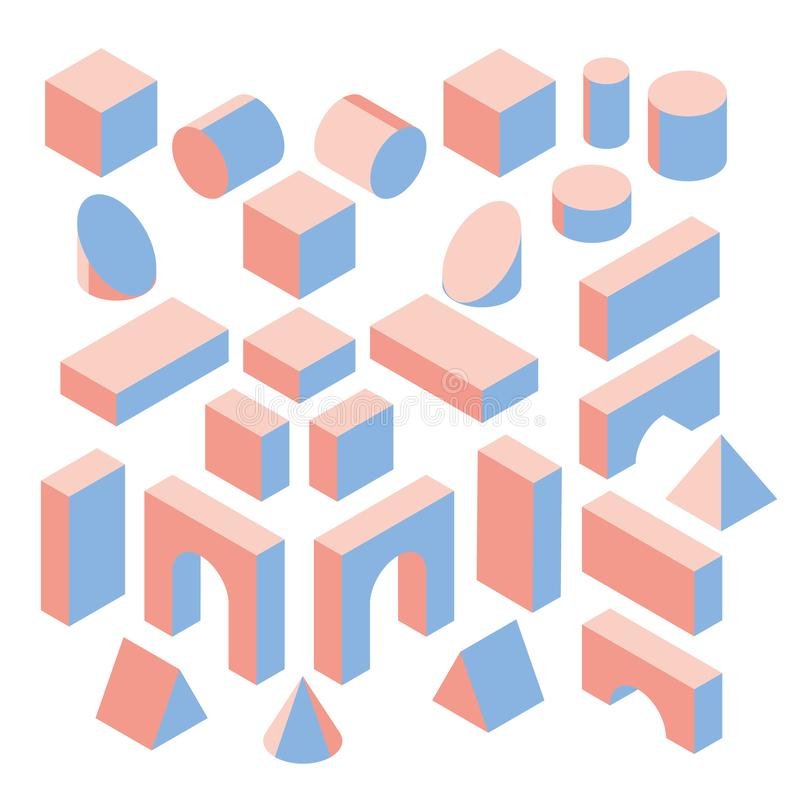 Blocs constitutifs colorés pour la construction Ensemble de vecteur illustration 3d isométrique illustration de vecteur