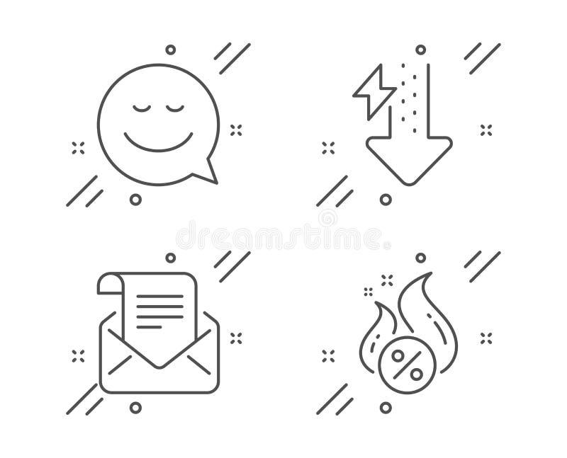 Blocs d'énergie, jeux d'icônes de la newsletter Smile and Mail Symbole de prêt à chaud Utilisation de l'énergie, Émotion de conve illustration libre de droits
