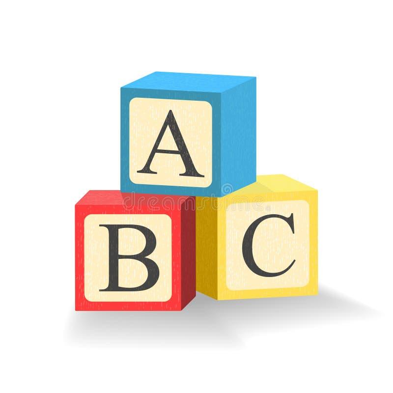 Blocs d'ABC Cubes en jouet avec des lettres d'alphabet Illustration d'isolement Vecteur illustration libre de droits