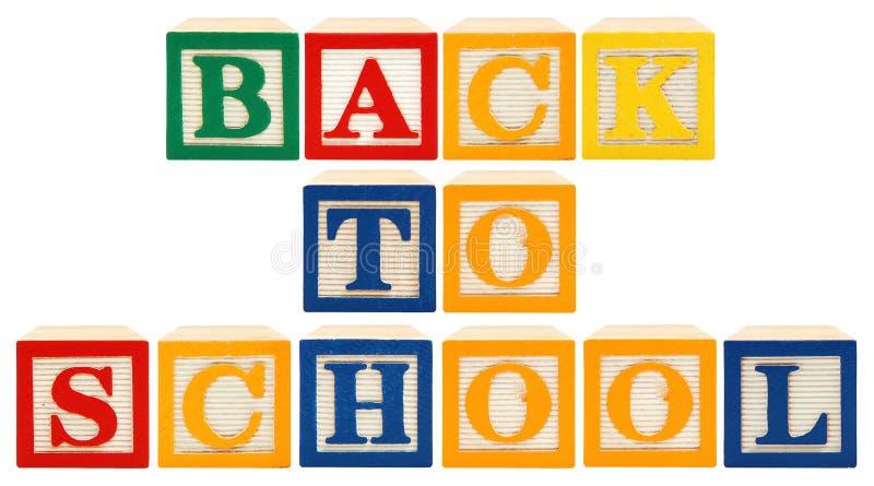 Blocs d'alphabet de nouveau à l'école image libre de droits