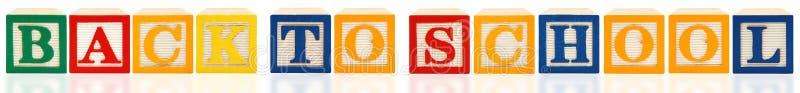 Blocs d'alphabet de nouveau à l'école image stock