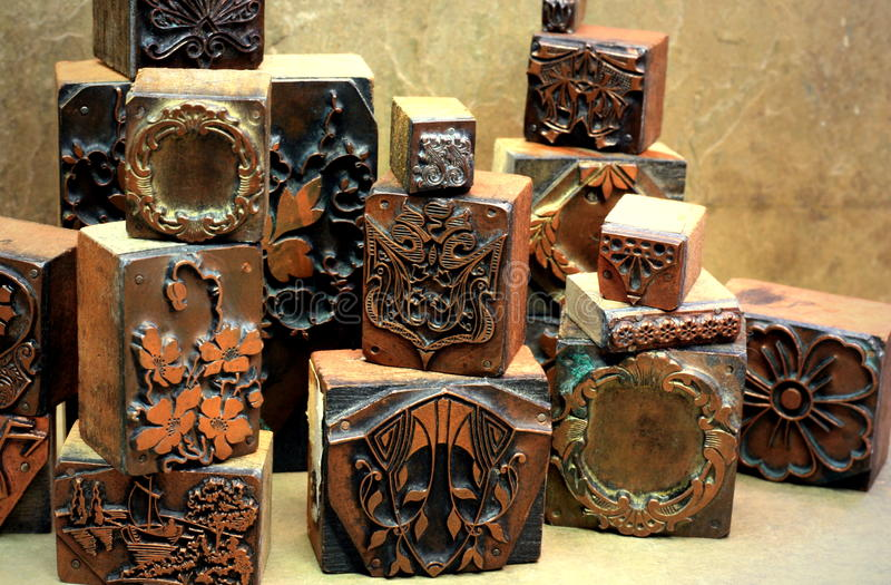 Blocs d'impression de cuivre antiques photos libres de droits