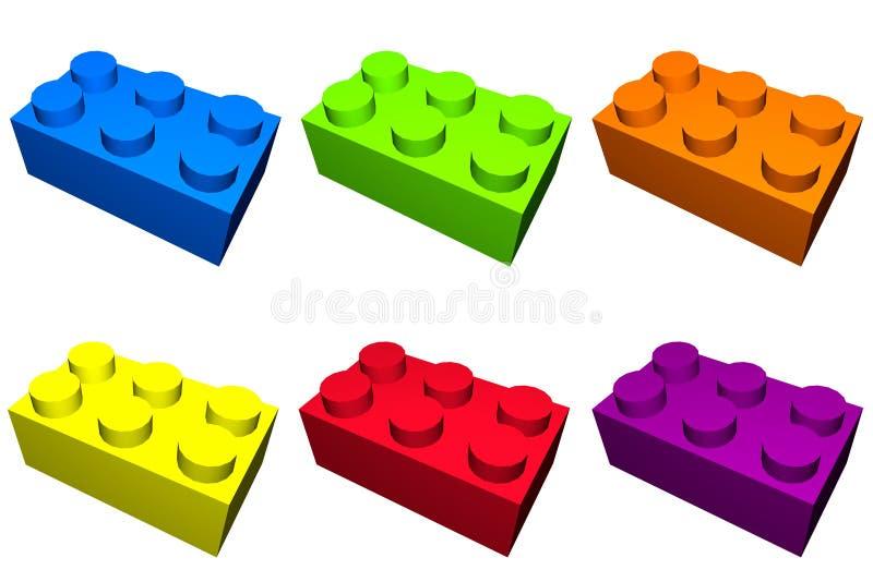 Blocs de construction dans l'isolement coloré illustration libre de droits