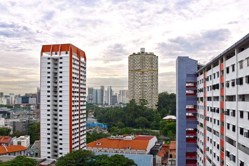 Blocs de logement à caractère social de Singapour Chinatown photographie stock libre de droits