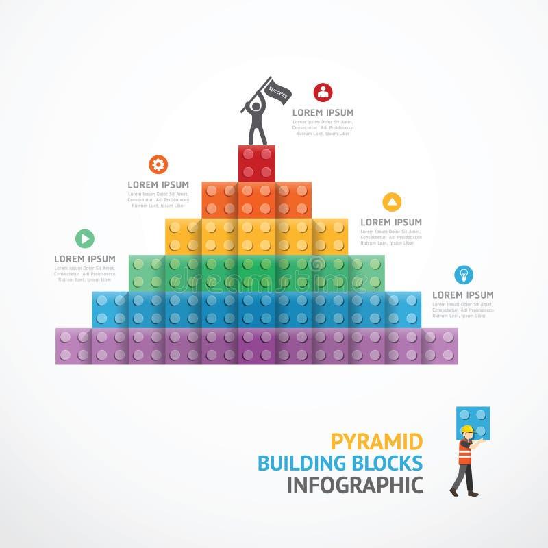 Blocs de pyramide de bâtiment d'étape de calibre d'Infographic illustration stock