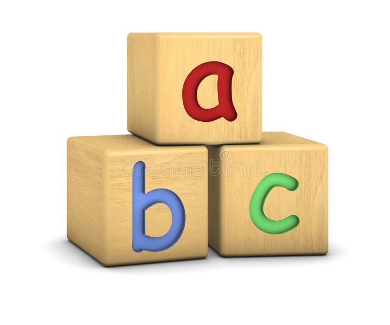 Blocs en bois avec des lettres d'ABC illustration libre de droits