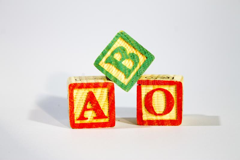 Blocs en bois d'alphabet photo stock