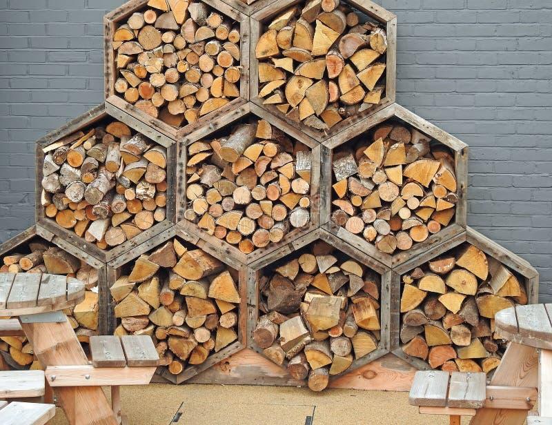 Blocs en bois d'hexagone de nid d'abeilles photos libres de droits