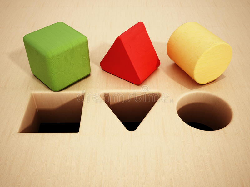 Blocs en bois de cube, de prisme et de cylindre devant des trous illustration 3D illustration libre de droits