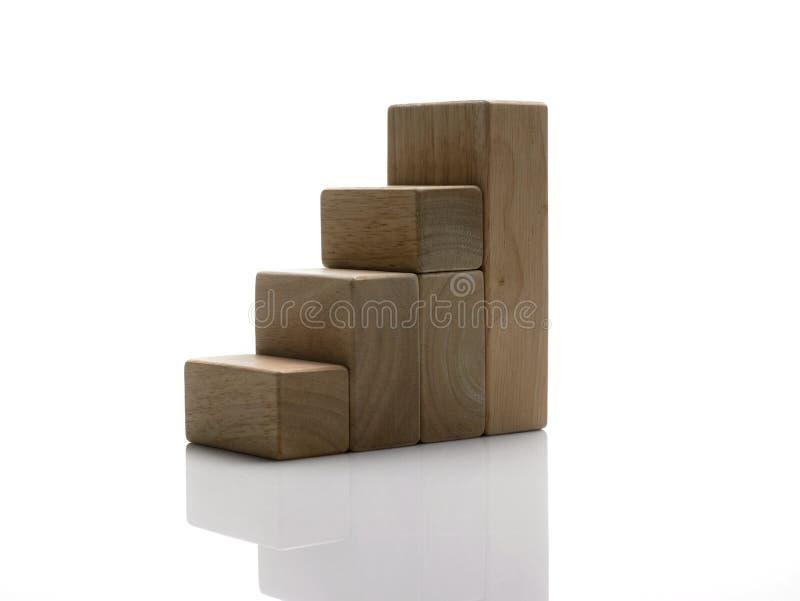 Blocs/escaliers en bois à la réussite images stock