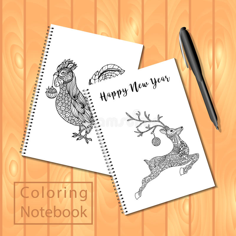 Blocs-notes à spirale ou livre de coloriage avec le stylo et les photos, coq, sautant profondément illustration stock