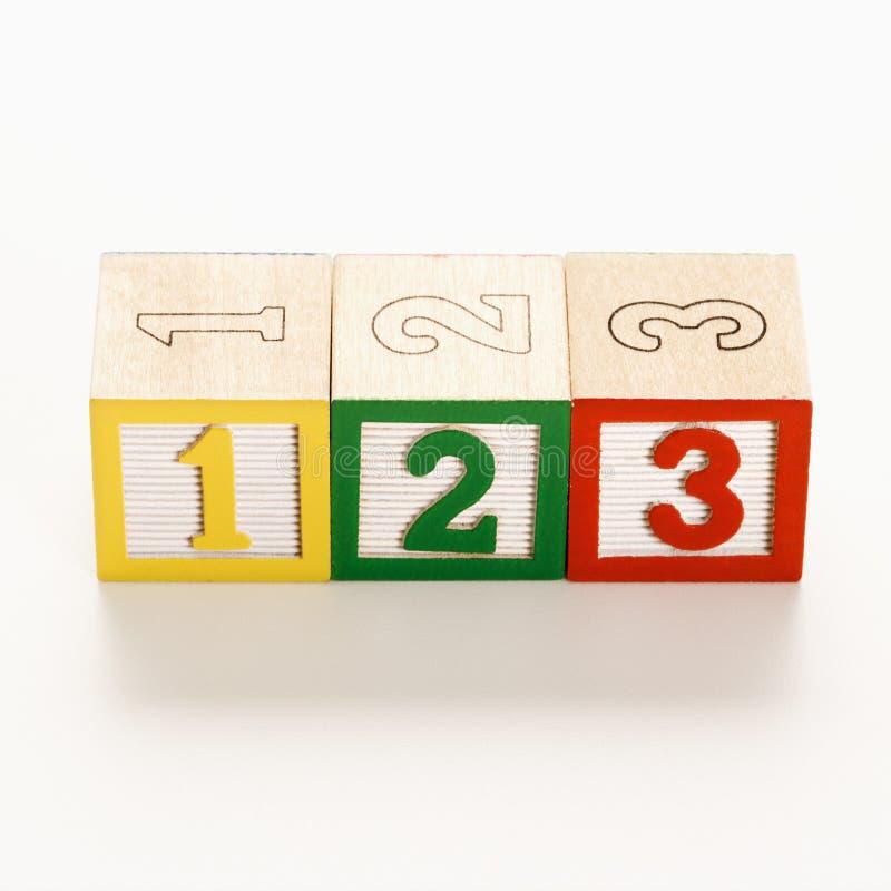 Blocs numérotés de jouet. image stock