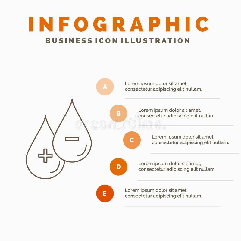 blod droppe, flytande, plus, negativ den Infographics mallen för Website och presentation Linje grå symbol med orange infographic stock illustrationer