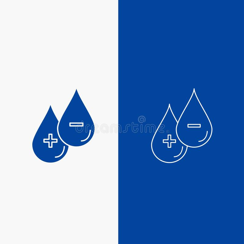 blod droppe, flytande, plus, negativ linje- och skårarengöringsdukknapp i det vertikala banret för blå färg för UI och UX, websit vektor illustrationer
