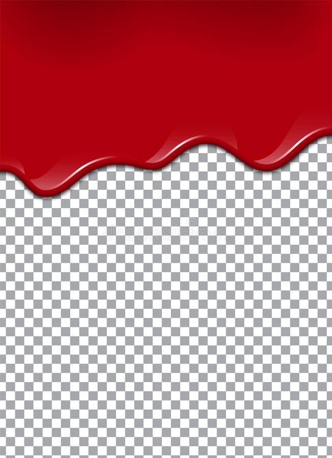 Blod eller jordgubbesirap eller ketchup på genomskinlig bakgrund också vektor för coreldrawillustration stock illustrationer