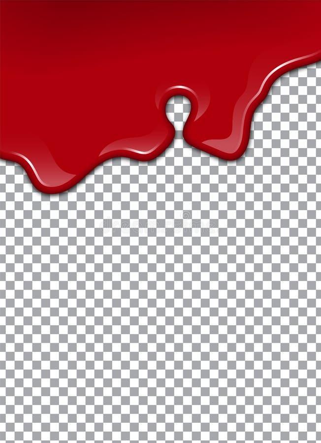 Blod eller jordgubbesirap eller ketchup på genomskinlig bakgrund också vektor för coreldrawillustration vektor illustrationer