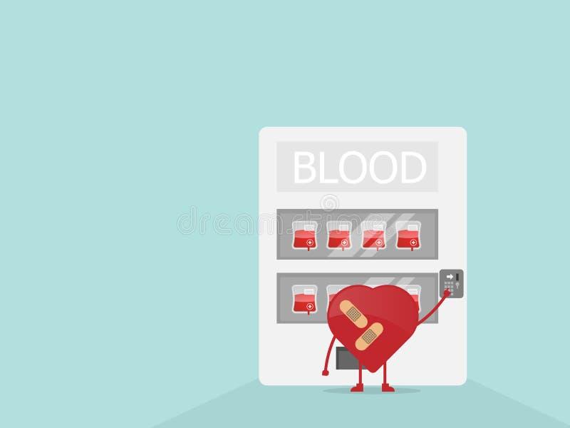Blod för tecknad filmhjärtaköp från varuautomaten vektor illustrationer