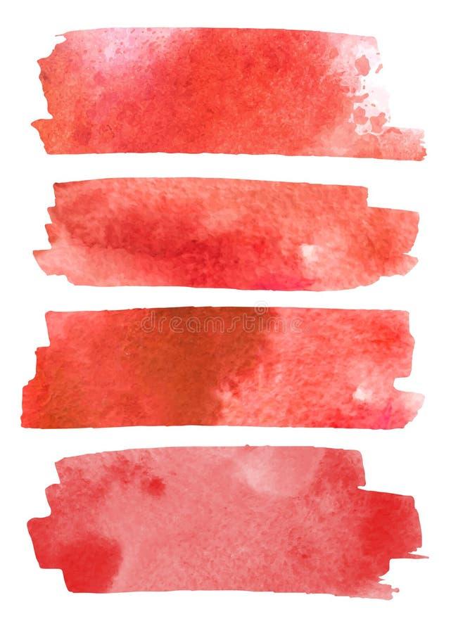 Blod plaskar den målade vektorn som isoleras på vit för den halloween designen Röd vattenfärg för stekflottbloddroppe stock illustrationer