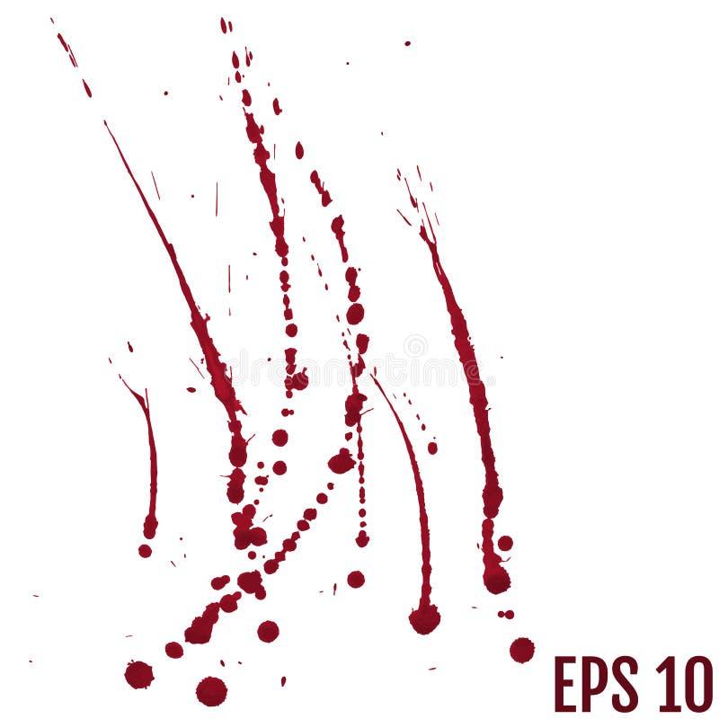 Blod plaskar den målade vektorn som isoleras på vit för den halloween designen Röd vattenfärg för stekflottbloddroppe vektor illustrationer