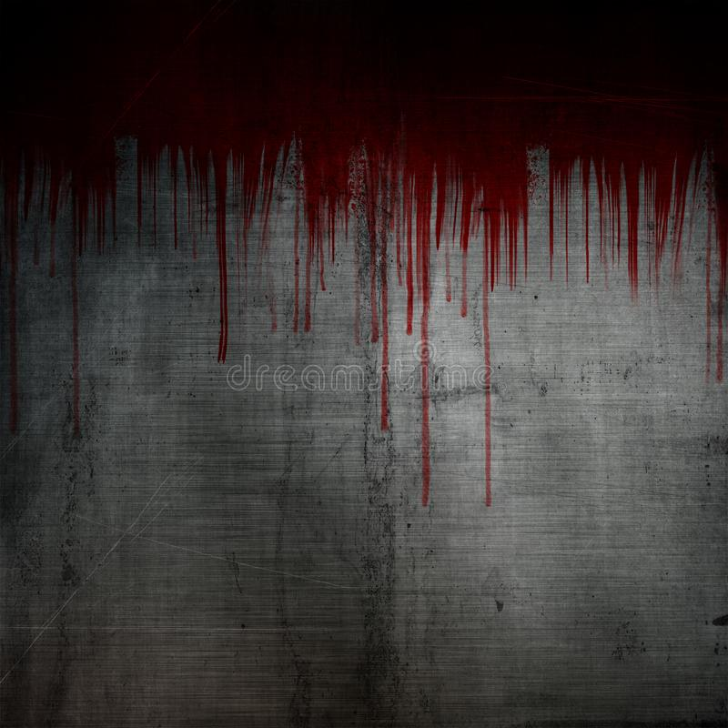Blod plaskar, och droppander på grunge belägger med metall bakgrund vektor illustrationer