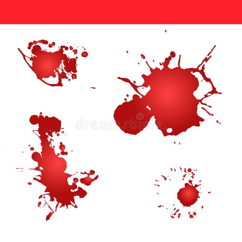 Blod plaskar vektorn måla färgstänk royaltyfri illustrationer