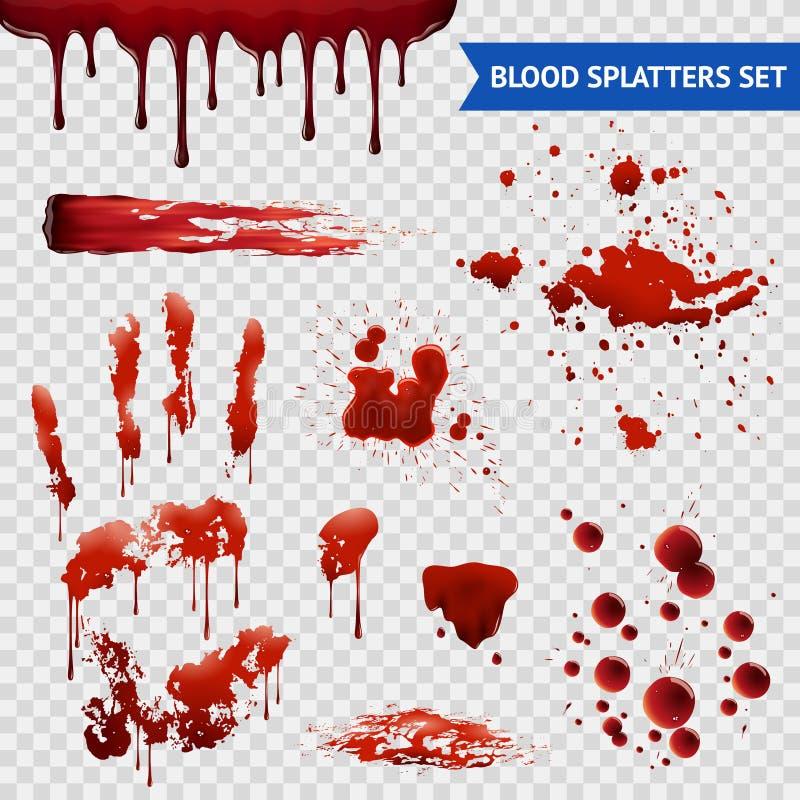 Blod stänker den genomskinliga uppsättningen för realistiska prövkopior vektor illustrationer