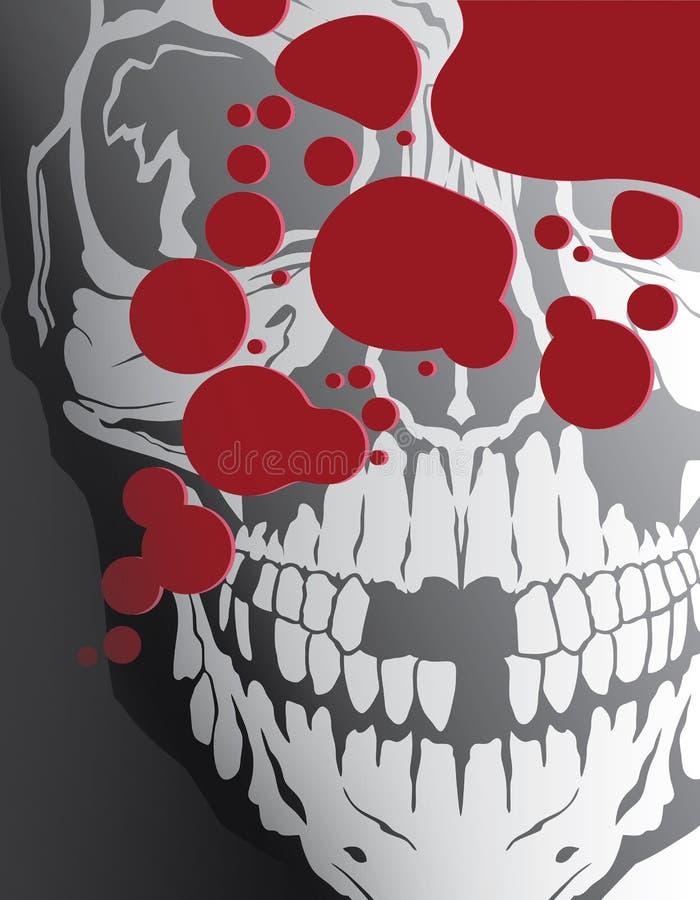 Blod stänker ned med skallen royaltyfri illustrationer
