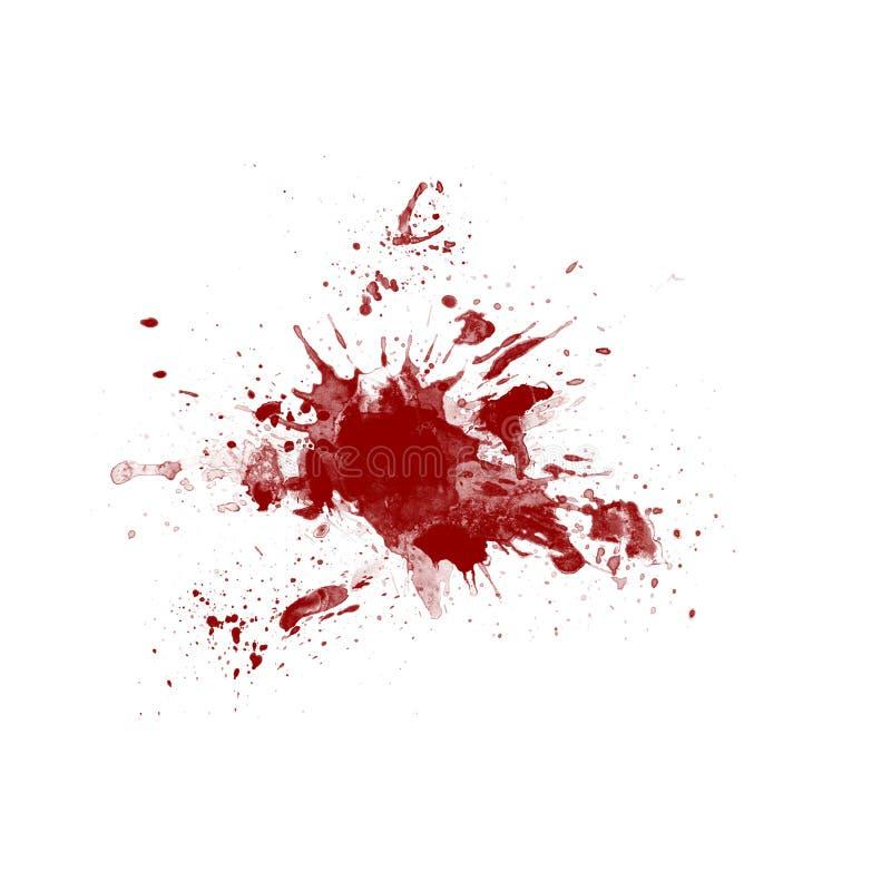Blod stänker på vit bakgrund stock illustrationer