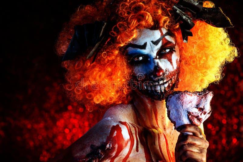 Bloda ner clownen arkivfoto