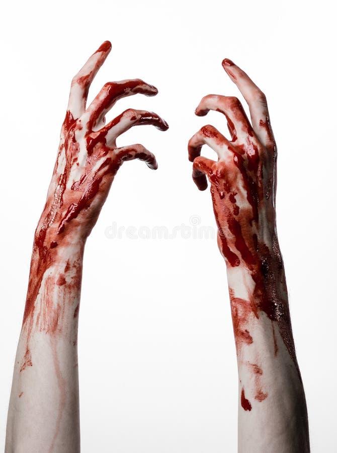 Bloda ner händer på en vit bakgrund, levande döden, demonen, galningen som isoleras fotografering för bildbyråer