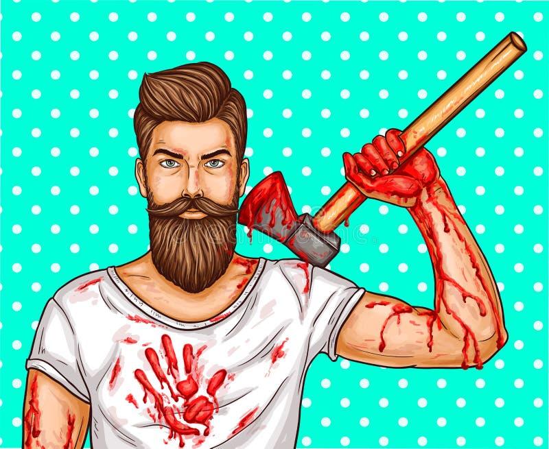 blodar ner den brutala skäggiga mannen för popkonst med blod befläckt yxa, strimmor och fläckar på händer och en T-tröja royaltyfri illustrationer