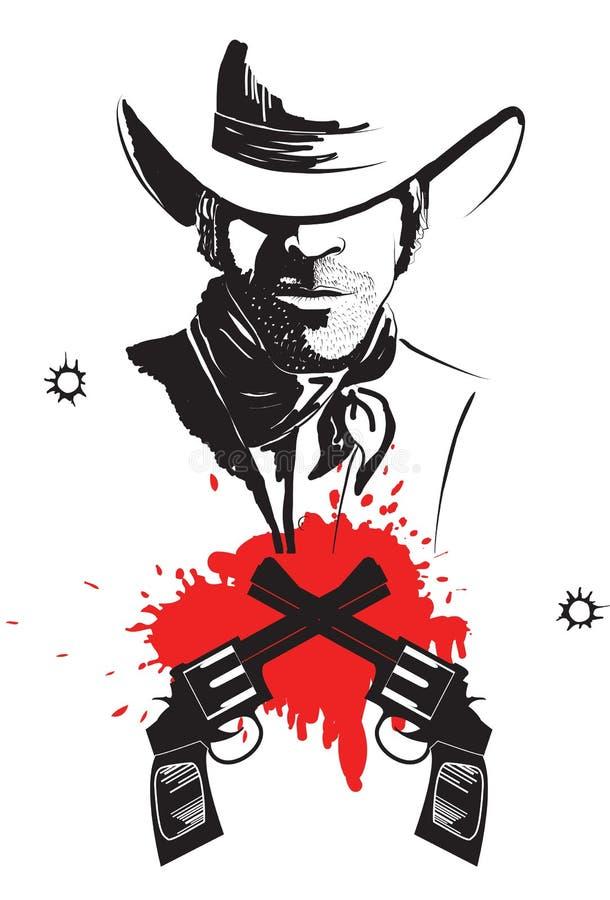 blodcowboyen guns hatten stock illustrationer