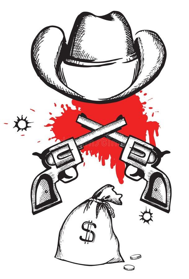 blodcowboyen guns hatten royaltyfri illustrationer