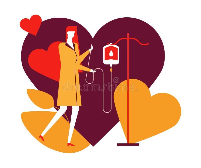 Bloddonation - färgrik plan designstilillustration royaltyfri illustrationer