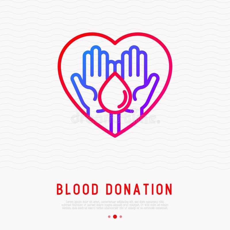 Bloddonation: två händer som rymmer bloddroppe royaltyfri illustrationer