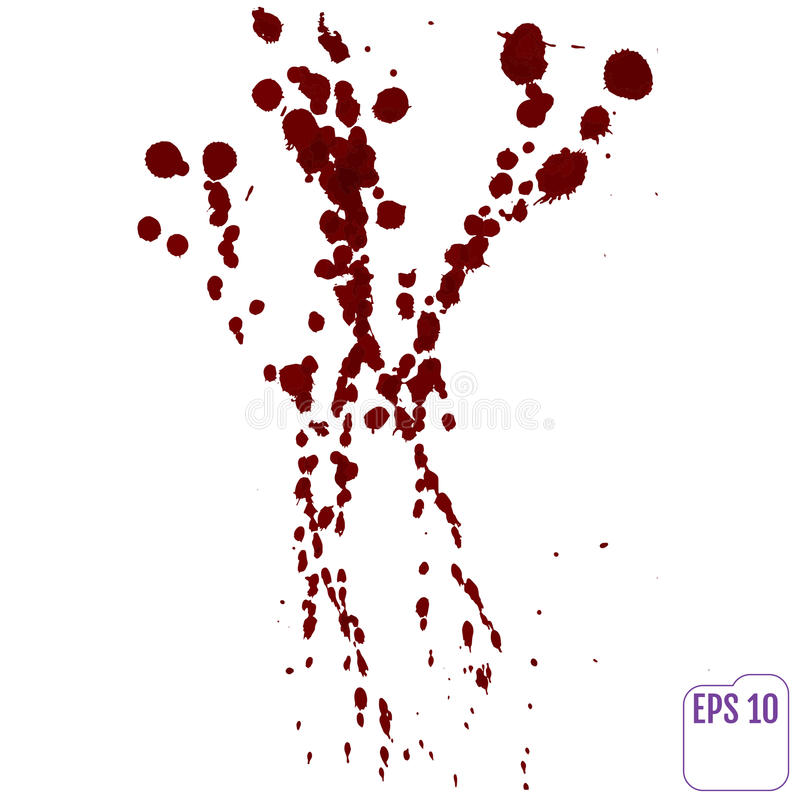 Bloddroppande Bläckar plaskar röd färgpulverfläck ner för vektorn, och vektor illustrationer