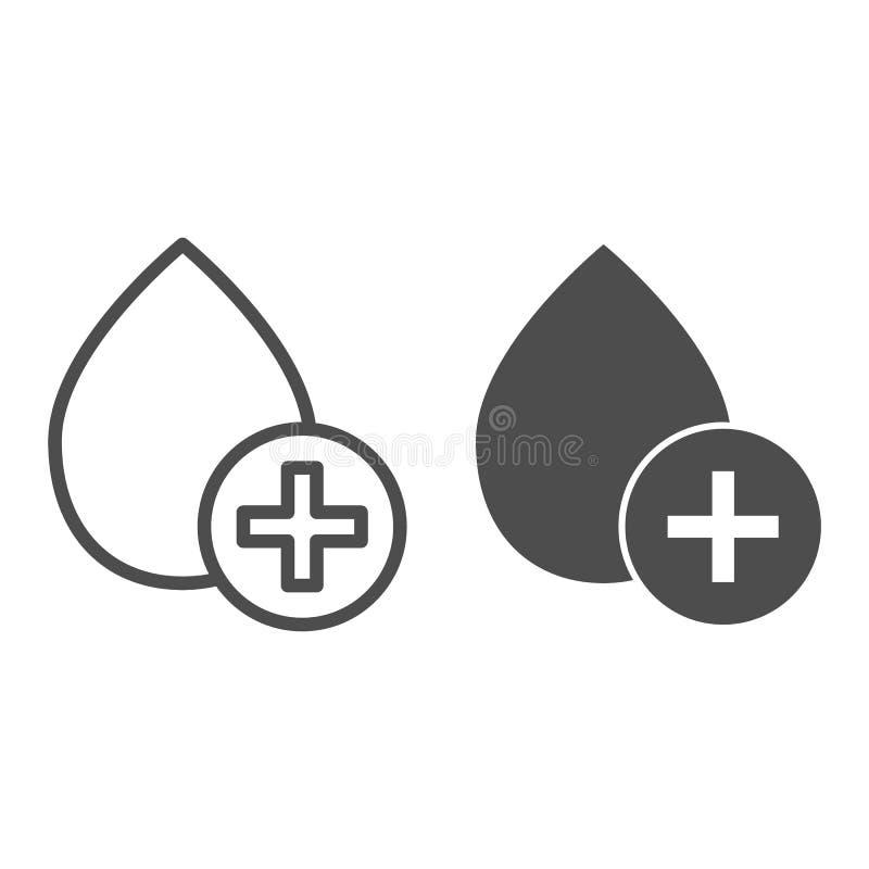 Bloddropplinje och sk?rasymbol Donera vektorillustrationen som isoleras p? vit Ge f?rsta erfarenhet designen f?r donation?versikt stock illustrationer