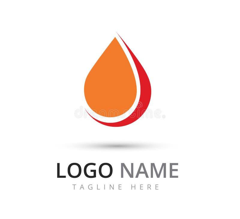 Bloddroppsymbol, logo Omsorg vektor stock illustrationer