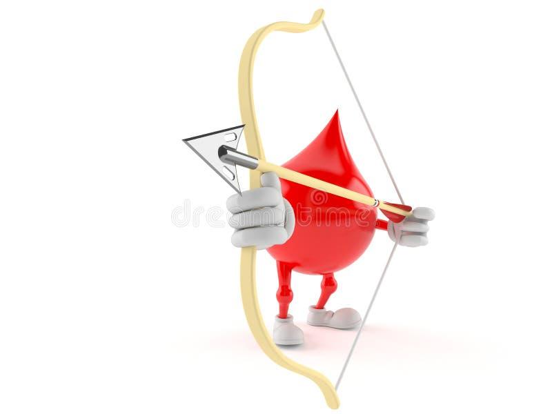 Bloddropptecken som siktar med pilbågen stock illustrationer